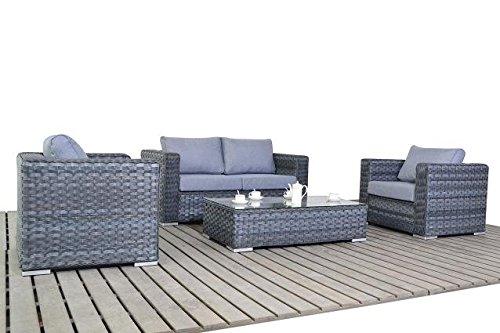 moderne kleine rattan garten sofa set grau 2 sitzer sofa mit 2 sesseln und glas couchtisch. Black Bedroom Furniture Sets. Home Design Ideas