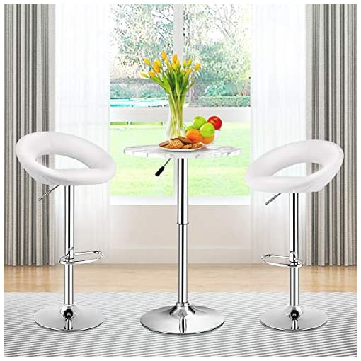 Kitchen COSTWAY Bar Stools, Set of 2 Modern Swivel Adjustable Barstool, PU Leather Backless Stools, with Chrome Plated Footrest… modern barstools