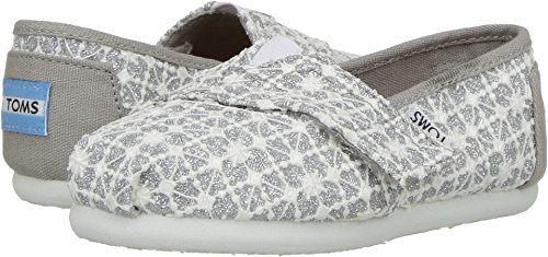 TOMS Kids Baby Girl's Alpargata (Infant/Toddler/Little Kid) Silver Lace Glimmer Shoe