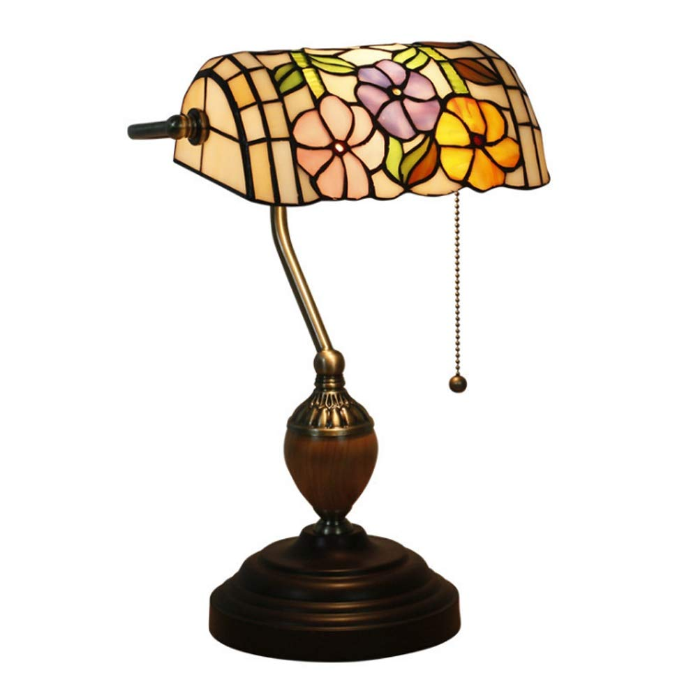 Wlirdo Retro Style Glass Tall Stained Glass Bedside Art Table Lamps Crystal Style Lamp with Nightlight Home Decoration Table Decor Lamp by Wlirdo