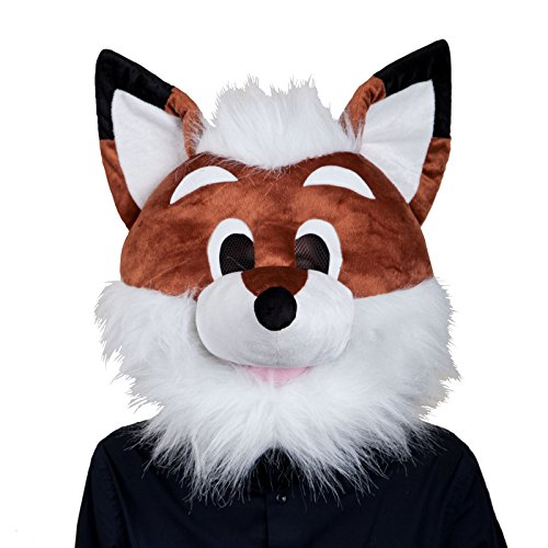 Fox Head Costume (Adults Plush Fox Head Mask Halloween Fancy Dress Up Party Costume Accessory New)