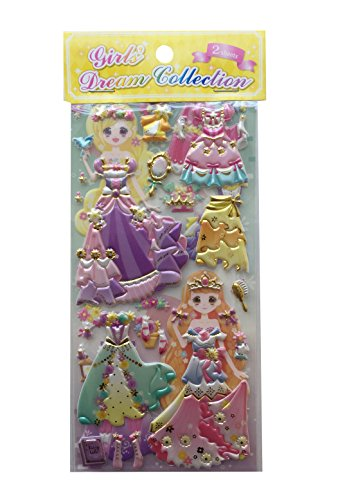 Dress-up Princess Kawaii Doll Puffy Glitter Stickers Play Set 2-Sheets My Style Mode Collection1 Set per Order (Multicolor Princess)