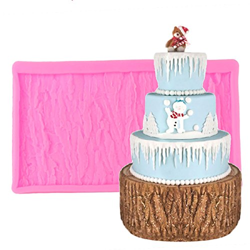 CHICTRY Tree Bark Texture Embossing Mat Non-Stick Silicone Mold DIY Fondant Chocolate Candy Clay Imprint Mold Sugar Craft Cake Decorating Supplies Pink One Size