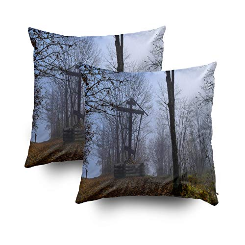 HerysTa Sofa Pillow Case, Home Decorative Body Pillow Cover Pack of 2 18X18inch Invisible Zipper Cushion Cases Autumn Fest Mist Cross View Scary Fest Mist Cross AUT Square Sofa Bed Décor