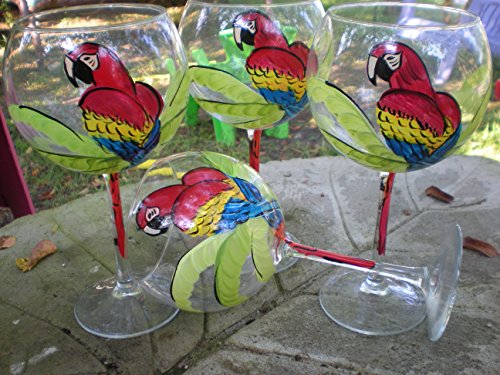 Cheap Hand painted red parrots. Set of 4. 20 ounces each. Made in the usa.
