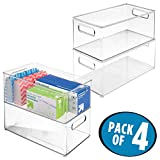mDesign Office/Desktop Storage and Organization Bin - Pack of 4, Deep, Clear