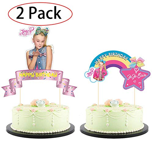 2 Pack Jojo Bow Cake Topper,Jojo Cupcake toppers Birthday Party Decoration for Kids