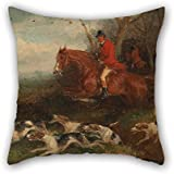 Elegancebeauty Throw Pillow Covers Of Oil Painting William J. Shayer - Foxhunting- Breaking Cover 18 X 18 Inches / 45 By 45 Cm,best Fit For Kids Room,car,wife,kids Room,family,dance Room Double Sid