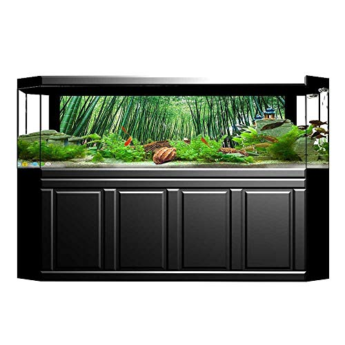 "UHOO2018 Fish Tank Decorations Bridge Over Bamboos Path Tropical Nature Woodland Way Quiteness Peaceful View Digital Gree HD Fish Tank Decorations Sticker 23.6""x15.7"""