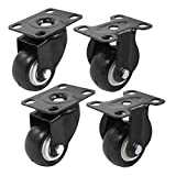"4 Pack 2"" Heavy Duty Caster Wheels Polyurethane PU Rubber Swivel Casters with 360 Degree Top Plate 220lb Total Capacity for Set of 4 (2 with Brakes& 2 fixed) Black"