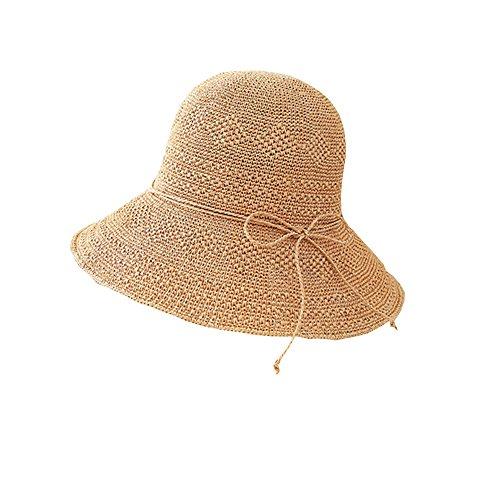 colore Visiera Cover Blu Pescatore Lha Uv Wild Sun Beach Faccia Donna Di Viaggi Cappello Scuro Hat Paglia Estate Seaside Sole Cachi 0qf8TU0x