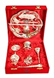 Indian Art Villa Om Design Silver-Plated Pooja Aarti Thali for Poojan Purpose -Set of 7 Pieces