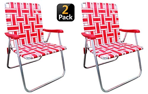 Outdoor Spectator (2-Pack Classic Reinforced Aluminum Webbed Folding Lawn/Camp Chair (Lawn Best Chair)
