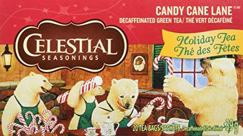 Christmas Past Canes Candy - Celestial Seasonings Green Tea, Candy Cane Lane Decaf, 20 Count (Pack of 6)
