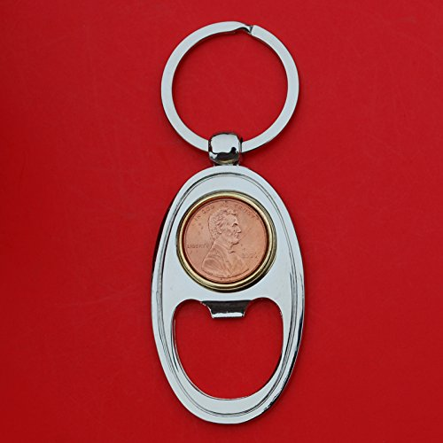 US 2006 Lincoln Small Cent BU Uncirculated Coin Gold Silver Two Tone Key Chain Ring Bottle Opener NEW - Lucky Penny -