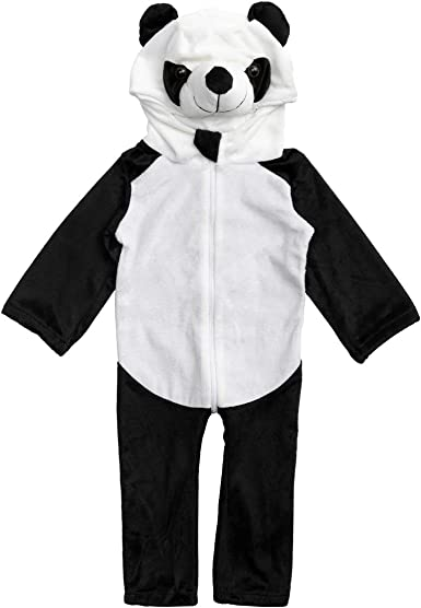 HollyHOME Baby Romper Cosplay Costume Cuddly Panda Toddler Cosplay Pajamas One Piece Jumpsuit Animal Cosplay Outfits Sleeping Wear for 0-6M