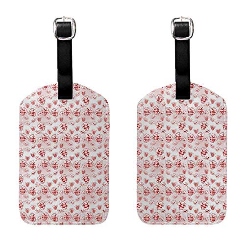 Bag Luggage Tags Tea Party,Polka Dots Jug Cup and Pot Traditional Retro Style Kitchenware of Great Britain,Red White Label with Loop ()