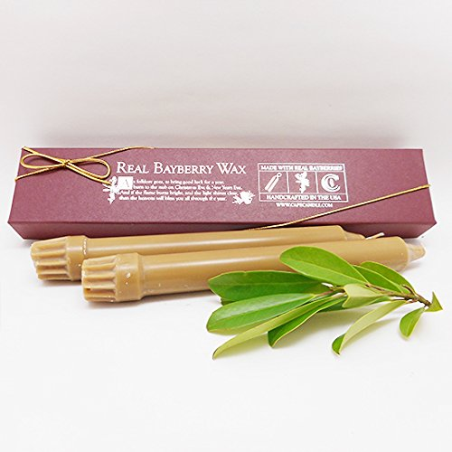 "Cape Candle - Real Bayberry Wax Classic Candles 8"" (Boxed pair)"