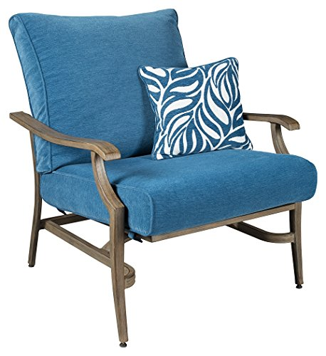 Ashley Furniture Signature Design - Partanna Motion Lounge Chair with Pillow - Set of 2 - Outdoor - Rust Free Aluminum Chairs - Blue & Beige