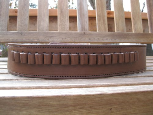 Shotgun Lilli Brown Genuine Leather - 45 Caliber - Cartridge Gun Belt (Brown, 52