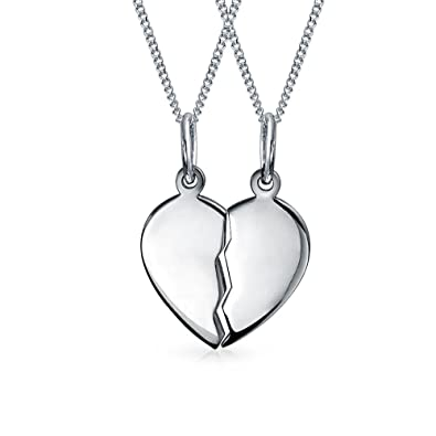 Bling Jewelry Split Heart Friendship Pendant Sterling Silver Necklace Set 16 Inches 8ofU0ceR
