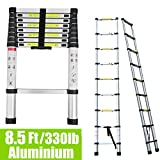 8.5Ft 2.6M Extendable Aluminium Ladders Telescopic Folding Extension Extendable Portable 9 Steps Loft Ladder Collapsible DIY Multipurpose UK Stock