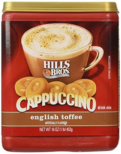 Hills Bros., Cappuccino, English Toffee Drink Mix, 16oz Container (Pack of 3) by Hills ()