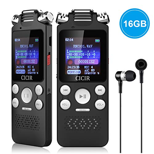 Digital Voice Recorder, CICIR 16GB Activated Sound Audio Recorder Dictaphone, Portable HD USB Digital Recorder with Double Microphone, 1120 Hours Voice Recorder for Lectures/Meetings/Interviews/Class ()