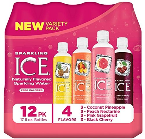 Sparkling Ice Variety Pack Black Cherry/Peach Nectarine/Coconut Pineapple/Pink Grapefruit, 12 Count