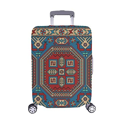 Colorful Oriental Mosaic Kazak Rug Traditional Spandex Trolley Case Travel Luggage Protector Suitcase Cover 28.5 X 20.5 Inch