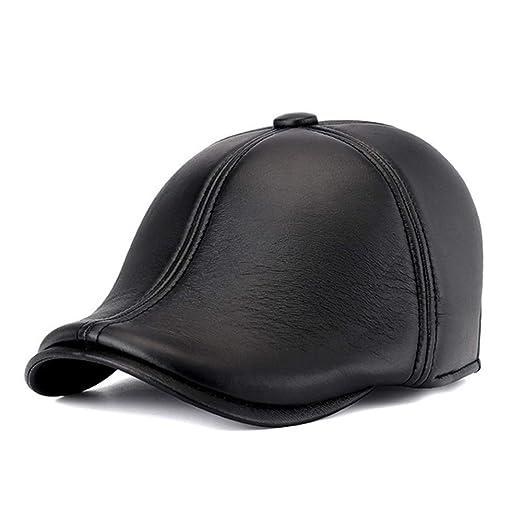 Gorras de plato Hombre Cap planos de cuero cuero genuino del ...