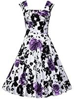 Oriention Women Summer 50s Vintage Retro Sleeveless Housewife Rockabilly Evening Party Cocktail Swing Dress