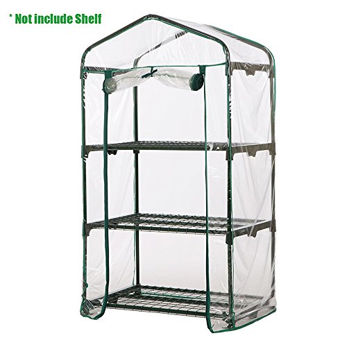 Enjoygous 3 Tier Mini Greenhouse PVC Covers Replacement, Transparent Walk-in Plant Green House Growbag Plastic Stands Cover Protector for Flower Garden Outdoor - 28