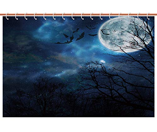 iPrint Unique Shower Curtain [ Halloween,Bats Flying in Majestic Night Sky Moon Nebula Mystery Leafless Trees Forest Decorative,Blue Black White ] Bathroom Accessories Shower Curtain -