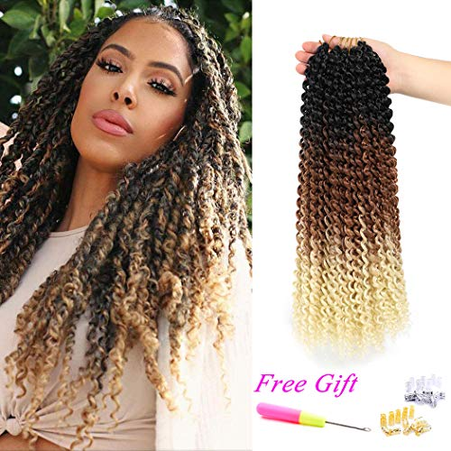 Passion Twist Hair Ombre Crochet Passion Twist 18Inch 6Packs Water Wave Crochet Braids for Passion Twist Crochet Hair (Black Brown Blonde)