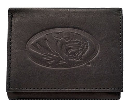 Rico Missouri Mizzou Tigers NCAA Embossed Logo Black Leather Trifold - Ncaa Card Tigers Credit