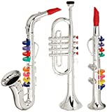 Set of 3 Music 1. Clarinet 2. Saxophone 3. Trumpet, Combo with over 10 Color Coded Teaching Songs Made in Italy.