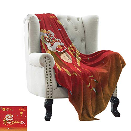 Children's Blanket Chinese New Year,Little Boy Performing Lion Dance with The Costume Flowering Branch Lantern, Multicolor Super Soft and Comfortable,Suitable for Sofas,Chairs,beds 60