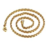 OOEOO Hip Hop Women's 3mm Gold Stainless Steel Twisted Rope Necklace Fashion Jewelry(C,76cm)