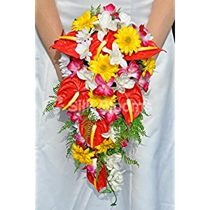 Bright Artificial Fresh Touch Red Anthurium Cascade Bridal Bouquet with Orchids and Daisies 11