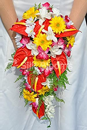 Bouquet Sposa Anthurium.Brillante Artificiale Fresh Touch Red Anthurium Cascade Bouquet Da