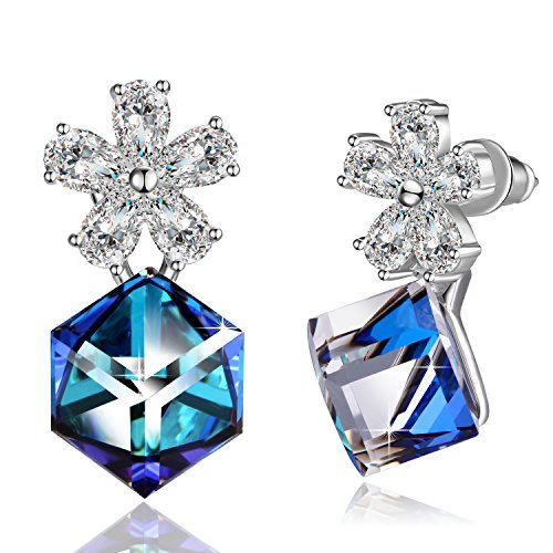 ❤Gift Packaging❤ 925 Sterling Silver Flower Cube Earrings with Crystals from Swarovski, Color Changing Crystals and Stud Earrings for Girlfriend, Wife, Mom and Daughter, Birthday Jewelry for Women