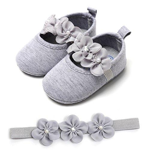 La Neonata Nuziale Bambino 2 Battesimo Scarpe Fascia Scivolo Festa Speciali Fiore Pezzi Per Occasioni Morbido Grigio Anti xZxfOqw