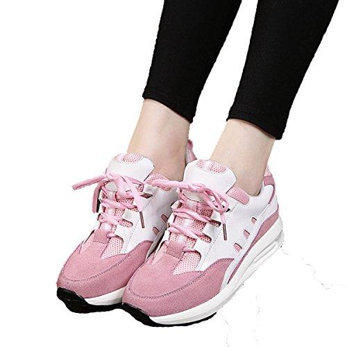 La Primavera Y El Otoño Sra CHT Calzado Deportivo Informal Mate Gruesa Corteza Pink