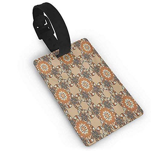 Boarding Tags Tan and Brown,Henna Art Style Mandala Flowers with Wavy and Striped Petals Mosaic Tile,Multicolor ()