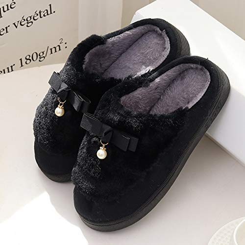 Easyflower Available Perfect Half Bag with Pearl Bow Ladies Autumn and Winter Warm Home Home Cotton Shoes Non-Slip Wood Floor Cotton Slippers Color : Black, Size : 3
