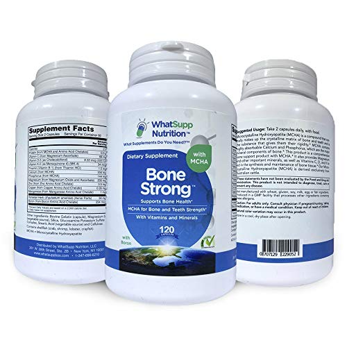 Bone Strong Formula w/Calcium Hydroxyapatite for Bone Health & Teeth Strength | 10 Nutrient Bone Health Supplement with Calcium, Magnesium, Zinc, Vitamin D, K2 & More – Australian Cattle Derived MCHA