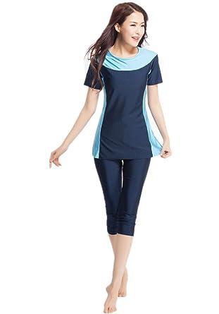 ca6a0a6c18 CaptainSwim Women's Short Sleeve Muslim Islamic Burkini Modest Swimwear  Lady Swimsuit (Asia XS, Navy