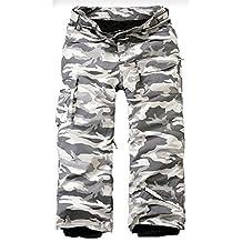 Mens Premium Ski Snowboard Wear Board Suit Waterproof Pants Camo Gray