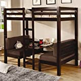 Coaster Home Furnishings  Modern Convertible Twin over Twin Workstation Loft Bunk Bed - Cappuccino / Brown Microfiber